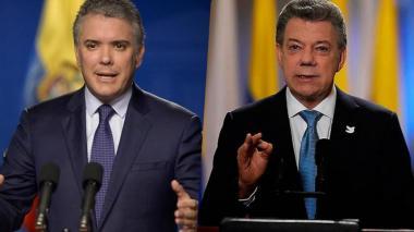 El presidente Duque y el expresidente Santos.