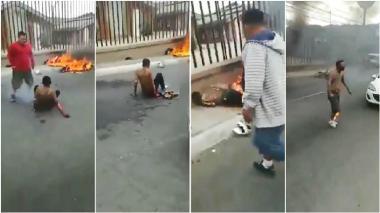 Turba prende fuego a dos supuestos sicarios que asesinaron a un taxista
