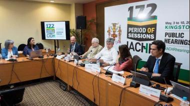Durante la reunión entre la JEP y CIDH en Jamaica.