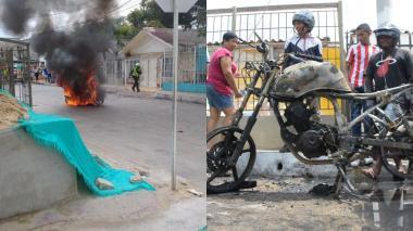 Queman moto de presuntos ladrones en Las Nieves