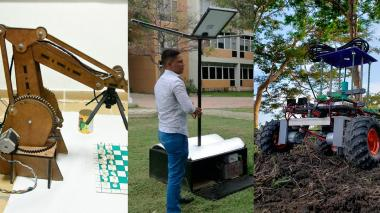 El brazo robótico para jugar ajedrez, el prototipo de árbol ecológico y el carro robot.