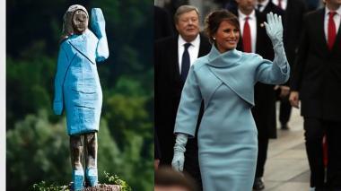 Curiosa estatua de Melania Trump divide a su pueblo natal en Eslovenia
