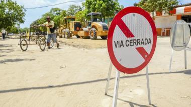 Aspecto de los cierres viales en Sabanagrande.