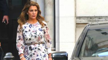 La princesa Haya Al Hussein en la puerta de los tribunales londinenses, donde pide medidas de  protección.