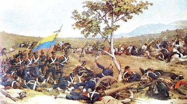 Representación de una de las batallas libertadoras.