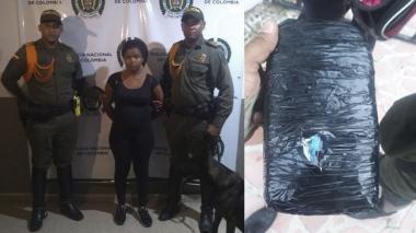 Canino de la Policía la olfatea y le hallan 500 gramos de marihuana