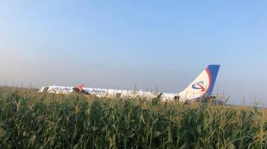 En video   Avión de línea ruso efectúa aterrizaje de emergencia en un campo de maíz