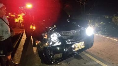 Estado en el que quedó el vehículo tras colisionar contra una vaca.