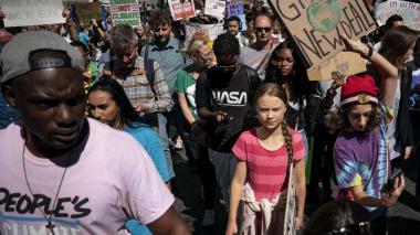 Greta Thunberg y jóvenes activistas en la protesta del cambio climático en la ciudad de Nueva York.