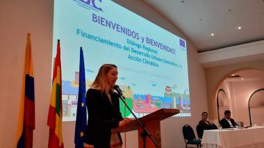 Lise Pate, representante de la Unión Europea en Latinoamérica, durante su intervención.