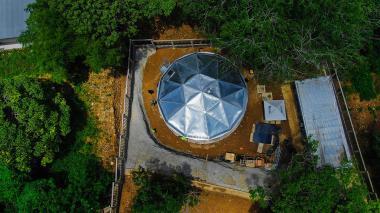 Foto aérea del nuevo tanque de agua potable.