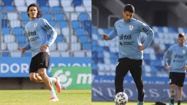 Cavani y Suárez, en el ataque de la Selección Uruguay ante Hungría