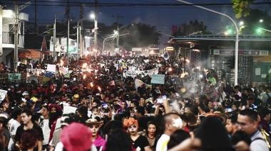 Estudiantes universitarios participaron en una marcha, el pasado 31 de octubre, el recorrido incluyó la calle Murillo de Barranquilla.