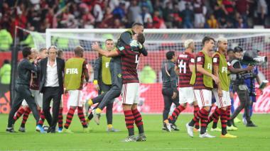 Flamengo festeja su clasificación a la final del Mundial del Clubes.