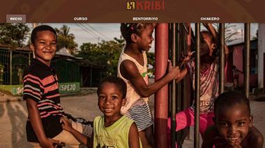 Aspecto de la plataforma virtual www.kribi.com.co que permite el aprendiza de la lengua palenquera.