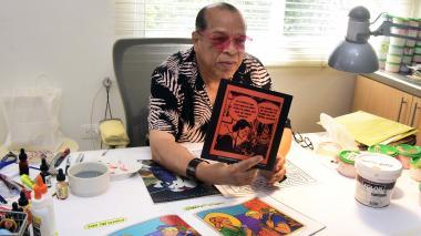 El reconocido artista barranquillero Álvaro Barrios en su estudio.