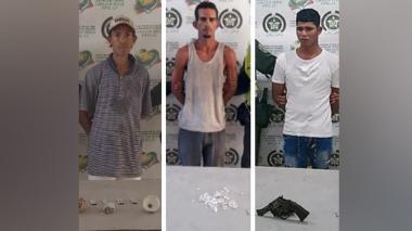 Policía captura a tres hombres en Malambo con drogas y un arma de fuego