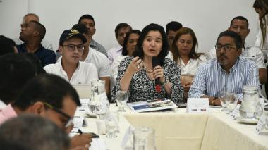 Syilvia Constain y Modesto Aguilera en  la reunión realizada este jueves en Barranquilla.