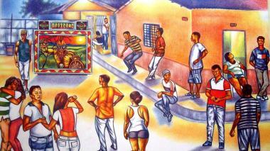 Dibujo a lápiz de color del picó El Africano durante una fiesta en un barrio popular del Caribe.