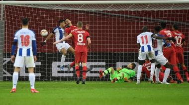 El esfuerzo de Luis Díaz para anotar el gol del descuento del Porto de Portugal.