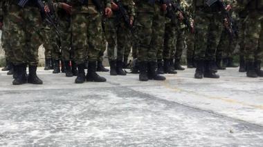 Soldados en formación en un batallón militar