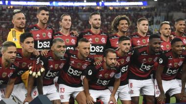 Jugadores del Flamengo antes del partido contra Independiente del Valle en la Recopa Sudamericana.