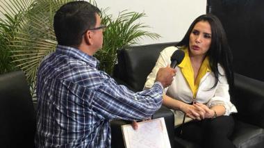 Aida Merlano en la entrevista con EL HERALDO con Eligio Rojas.