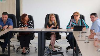 La gobernadora Noguera acompañada de los secretarios del Interior, Yesid Turbay; de Salud, Alma Solano, y de Desarrollo, Miguel Vergara.