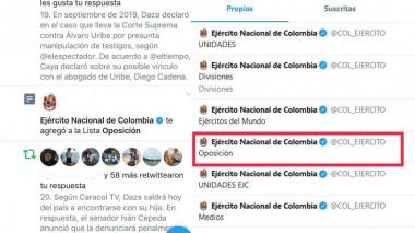 Este es el pantallazo de la lista de Twitter del Ejército.