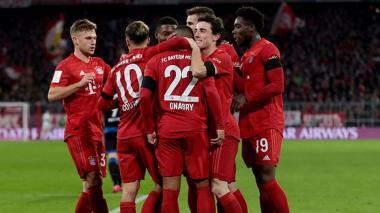 Los jugadores del Bayern Munich festejando un gol.