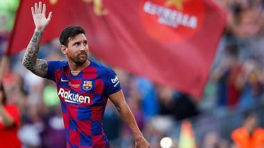 Lionel Messi durante un partido con el Barcelona de España.