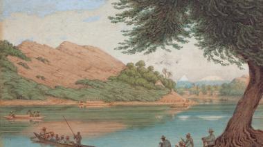 """Vista del río Magdalena"", acuarela del pintor Edward Walhouse Mark."