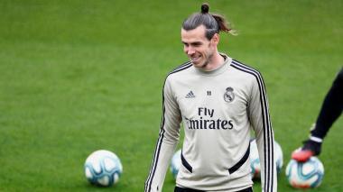 Gareth Bale durante un entrenamiento con el Real Madrid.