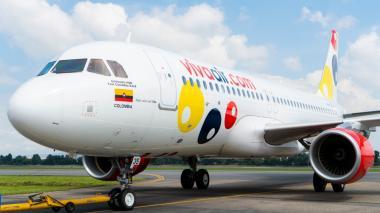 Uno de los aviones de la flota con la que opera la aerolínea Viva Air.