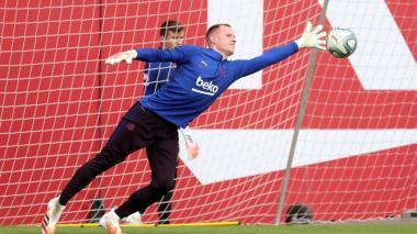 Ter Stegen en un entrenamiento del FC Barcelona.