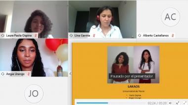 Pantallazo de la conferencia virtual en el que las jóvenes recibieron su reconocimiento.