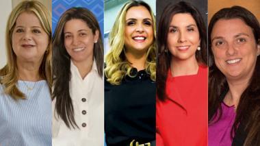 Elsa Noguera, gobernadora del Atlántico; Catalina Ucrós, Secretaria de Educación del departamento; María Claudia García, Directora de la Fundación Finsocial; María Victoria Angulo, ministra de Educación;Karen Abudinen, ministra de las TIC.