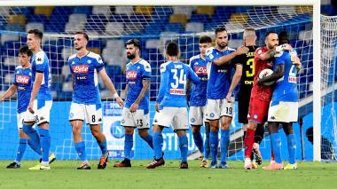 David Opsina celebrando con sus compañeros del Napoli el paso a la final de la Copa de Italia.