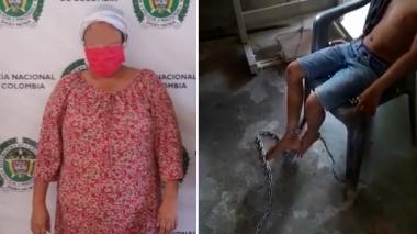 Capturan a mujer que tenía a su hijo encadenado a una mesa