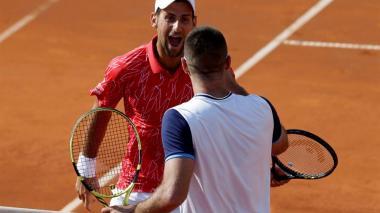 Novak Djokovic junto a Viktor Troicki.