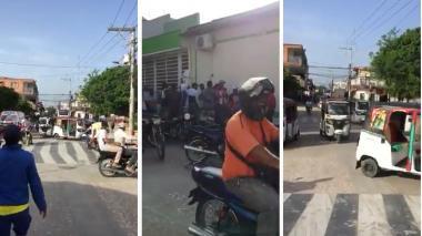 En Baranoa, mototaxistas protestan por prohibición del parrillero