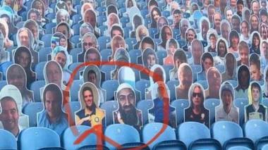 La imagen de Osama Bin Laden al lado de la del hincha que la denunció.