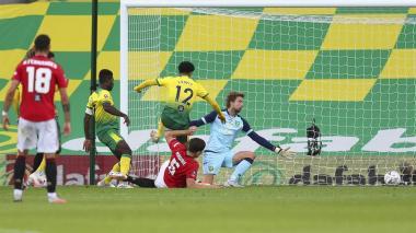 Acción del gol anotado por Harry Maguire que le dio la victoria al Manchester United.