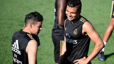 James Rodríguez y Casemiro, dos de los convocados para el juego contra el Deportivo Espanyol.