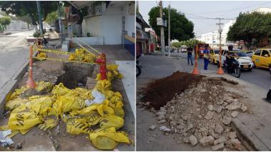 Reportan huecos en andén en el barrio El Carmen