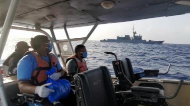 Los dos pescadores rescatados en aguas de Nicaragua.