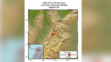 Un sismo de magnitud 4,8 sacude Santander sin dejar víctimas