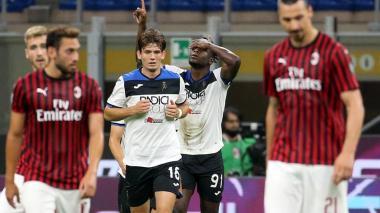 Así festejó Duván Zapata su gol ante el Milan.