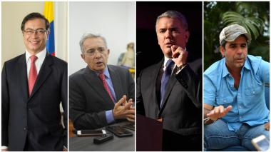 Gustavo Petro, Álvaro Uribe Vélez, Iván Duqe y Alex Char.