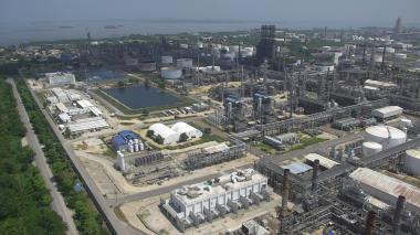 Vista aérea de las instalaciones de la refinería de Ecopetrol en Cartagena.